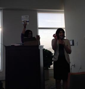 Bianca and Alex raffling books (via Alex Proaps)