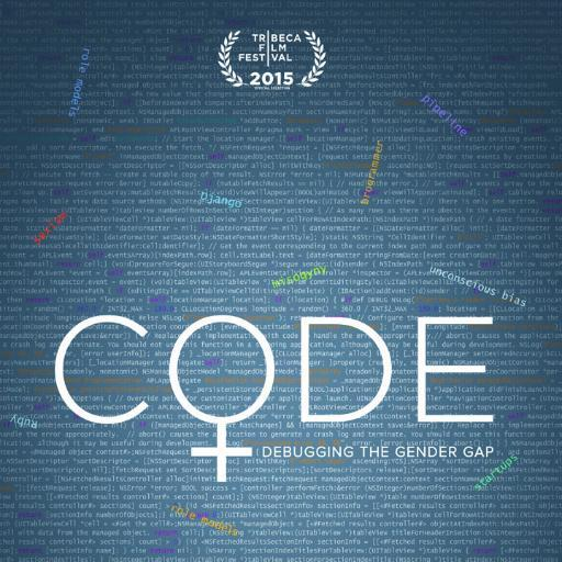 The title of the movie Code: Debugging the Gender Gap with lines of programming code in the background